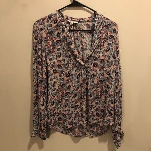 Lucky brand floral blouse long sleeve